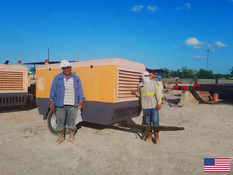 Передвижные воздушные компрессоры DENAIR для обслуживания труб в США