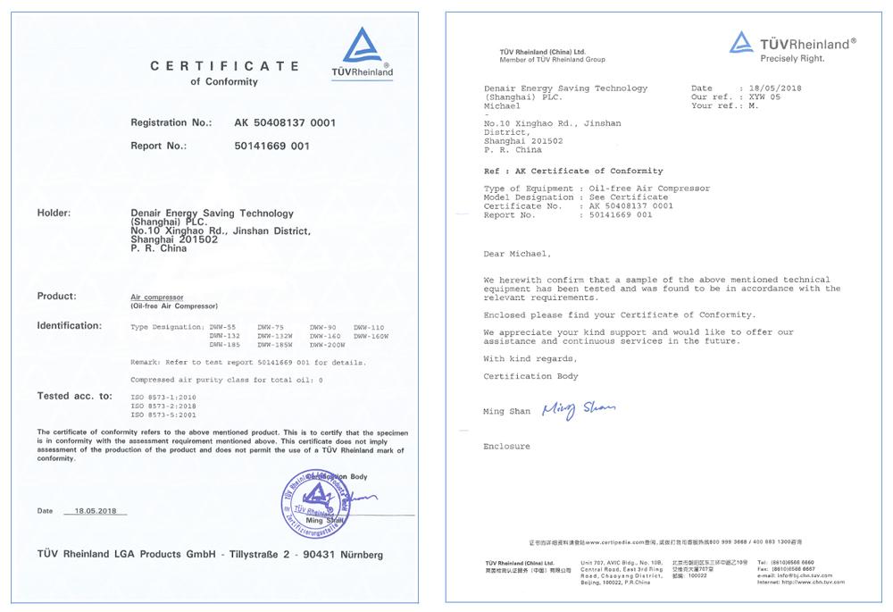 DENAIR безмасляный винтовой воздушный компрессор сухого типа обладает сертификатам безмасляного класса 0