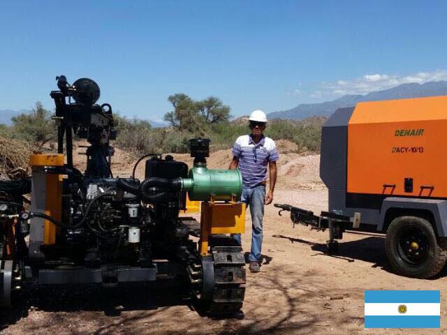 DENAIR передвижной воздушный компрессор с буровой установкой в Кварцевой шахте
