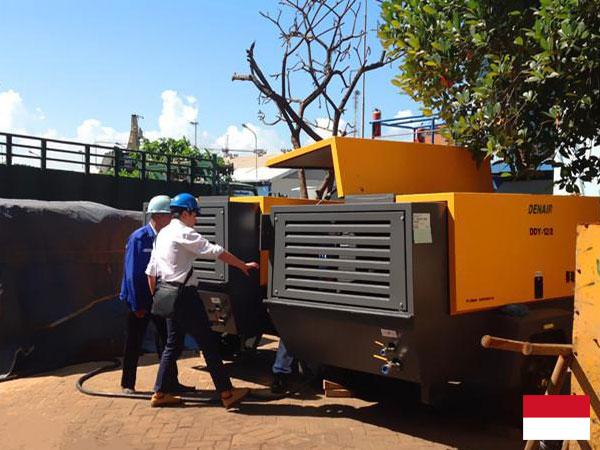 Электрический передвижной воздушный компрессор DENAIR в Индонезии